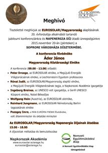 Meghívó az Eurosolar / Magyarország Napenergia Díj átadó ünnepségére