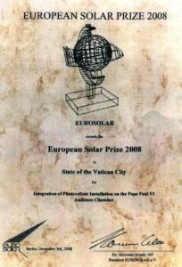 EUROSOLAR Napenergia Díj Oklevél