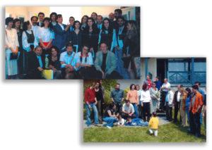 A bentlakásos programon résztvevő fiatalok tanáraikkal 1995 Pünkösdjén. Ez is 20 éves jubileum