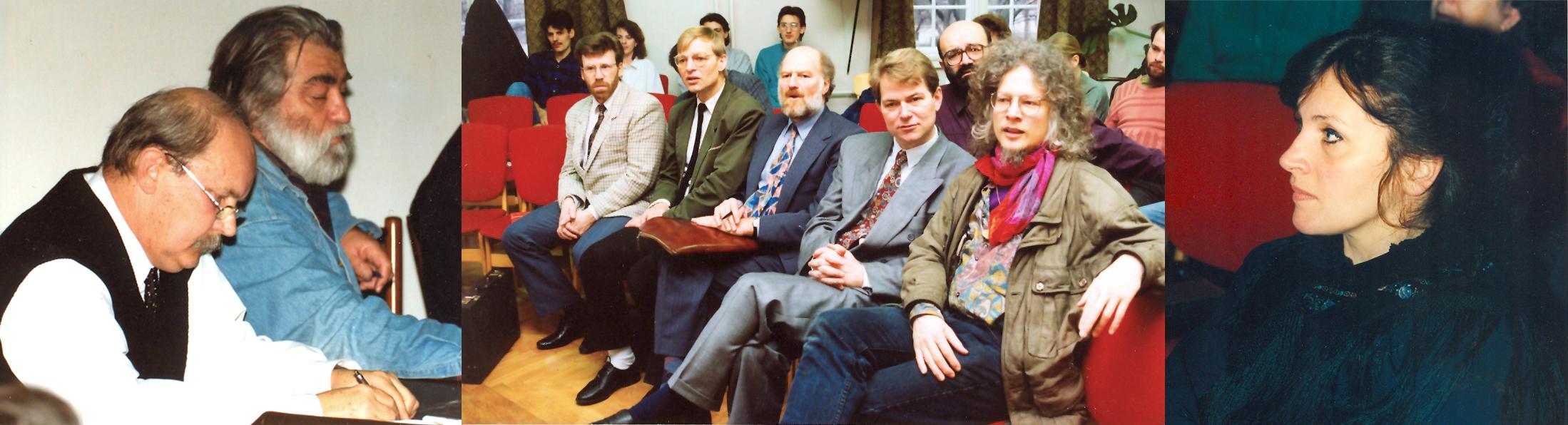 Egy emlékezetes konferencia a Vasfüggöny áttörésének atmoszférájában 1993-ban Makovecz Imre, Sára Sándor, Arild Mikkelsen (Norvégia), Ove Korsgaard (Dánia), Keith Jackson (Anglia), Kristian Kjær Nielsen (Dánia), Henning Eichberg (Dánia), Rónai Judit