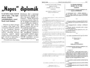 Magyar közlöny és Napos diplomák
